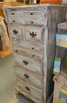 Grey Distressed Furniture | Emily's Up-cycled Furniture: Tall blue grey distressed dresser