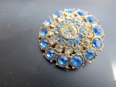 Vintage Light Blue and Clear Rhinestone by CaityAshBadashery