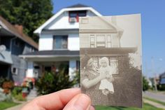 Dear Photograph. Check out the site. I want to do this with some of my great-grandpa's old photo slides.