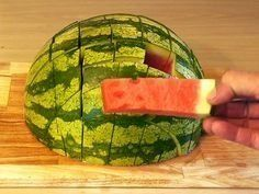 You've Been Cutting Watermelon All Wrong. Instead of slicing the melon into wide wedges that inevitably get juice all over your face and chin, cut the fruit (or any other melon) in half, then slice it in a grid. That will give you evenly sized slices that each have a bit of rind at the bottom to act as a convenient handle. The only tricky part is not eating a slice or two before guests arrive. | Health.com