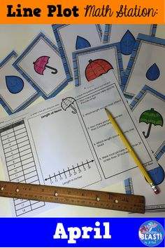 April Line Plot math center task cards for 3.MD.B.4. Measure umbrellas and rain drops to nearest quarter inch and use data to make a line plot.