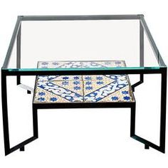Glass 'Spider' Coffee Table with Shades of Blue on the Second Panel