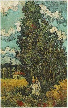 Cypresses and Two Women  Vincent van Gogh Painting, Oil on Canvas Saint-Rémy, France: February, 1890