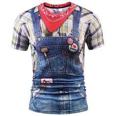 aa269304fd6a 3d T-shirt Men women Summer Tops Tees Print Fake Plaid Shirts Jeans T shirt  Stylish Tees Shirts