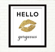 Gold Lips Print Instant Download Printable Art by PeachAndGold