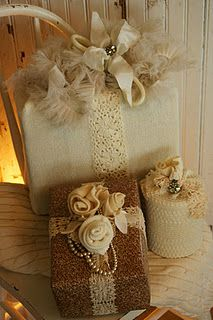burlap and lace and ribbon satin ribbon, beautiful