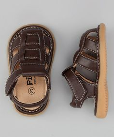 Take a look at this Brown Jackson Squeaker Sandal by Pickle Footwear on #zulily today!  Gotta get these for Gid for D.Land..hopefully he will b walking b then