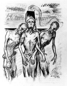 "Their Last Steps by David Olère. 1946, 33x41 cm, Olère Family.  ThreeMuselmänner support each other as they falter toward the gas chamber. Muselmannwas the camp term for those whose physical and mental exhaustion made them candidates for ""selection."""