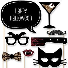 spooktacularly sophisticated halloween party 20 piece photo booth props kit bigdotofhappinesscom - Halloween Photography Props