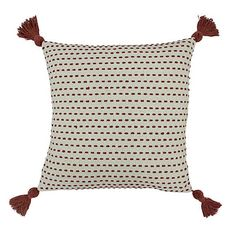 Ezra Red Clay Cushion | Dunelm Embroidered Cushions, Down Feather, Beautiful Textures, Color Splash, Colour Red, Stripes Design, Soft Furnishings, Home Textile, Pink Roses