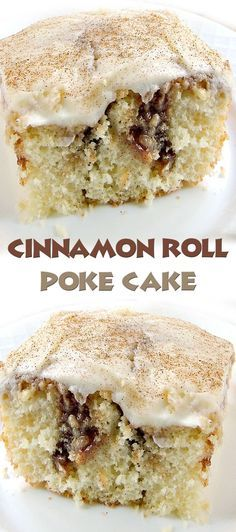 Cinnamon Roll Poke Cake Recipe/ I would use a scratch buttery yellow cake vs boxed but otherwise this looks good - maybe a light streusel/cinnamon topping with glaze lightly drizzled over it Easy Desserts, Delicious Desserts, Yummy Food, Poke Cake Recipes, Dessert Recipes, Diabetic Cake Recipes, Poke Recipe, Fall Cake Recipes, Frosting Recipes