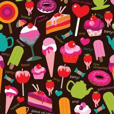 Verjaardagskaart vol ijsjes en gebakjes, wie wil die nou niet ontvangen? Design Birthday Card / Verjaardagskaart by Designalicious www.kaartje2go.nl