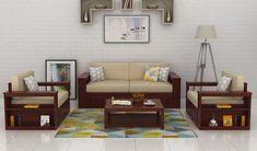 Wendel Sofa Set With Storage (Mahogany Finish)-1