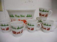 Hazel Atlas Milk Glass Christmas Egg Nog Punch Bowl & Mug Set Holiday Carriage