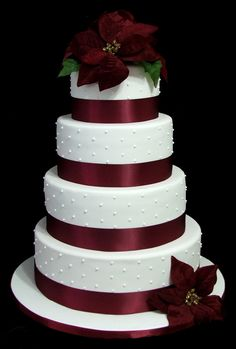 """Traditional Wedding Cake: 6""""/8""""/10""""/12"""" covered in fondant with ribbon & silk flowers"""