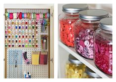 sewing room ideas, thread organizer, buttons organizer