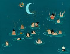 Night Swimmers. Print of original gouache painting; measures 11x14, with a white border for framing.