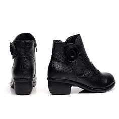 SOCOFY Retro Handmade Floral Soft Ankle Leather Boots