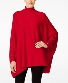 Alfani Petite Turtleneck Poncho Sweater, Only at Macy's - Red P/XS