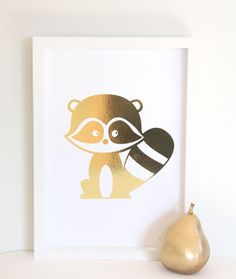 size and printed on white linen textured card. Fits perfectly in to an frame or can be trimmed to suit a photo frame. All prints are sent in a cello bag and shipped with a stiff board mailer for protection. Racoon, All Print, Wall Decor, Texture, A4, Creative, Prints, Gold, Kids