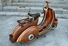 Wood Vespa! Cool artisan/carpenter made this Vespa