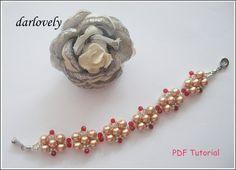 Classy Rose Gold Pearl Red Bracelet BB165  PDF by darlovely, $6.50