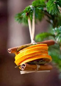 Dried orange slices, bay leaves and cinnamon stick Christmas tree decorations. Stick Christmas Tree, Christmas Makes, Noel Christmas, Homemade Christmas, Rustic Christmas, Winter Christmas, Christmas Oranges, Orange Christmas Tree, Christmas Scents
