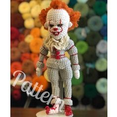 PATTERN ONLY! We all float down here.... Youll float too! This pattern features over 30 full color detailed step by step photos to make a Pennywise amigurumi doll that measures almost 14 tall. Please let me know if you have any questions about this pattern, or if you need any