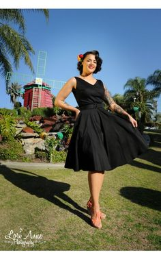 Havana Nights Dress in Black Sateen - Pinup Couture - House Brands | Pinup Girl Clothing (has side pockets)