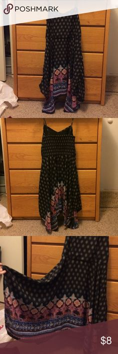 Black pattern tank top dress Black tank top dress with pattern and colorful pattern on bottom, never worn Target Dresses Asymmetrical
