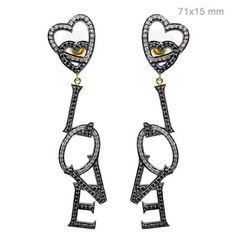 2.5ct Pave Diamond 925 Sterling Silver LOVE Dangle Earrings 14 K Gold Jewelry OB #Handmade #DropDangle
