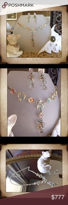 """♨️JUST IN-⚜️VINTAGE Necklaces Set NEVER BEEN WORN, Vintage Set.  Vintage 90's Avon Spring Flower Enameled Y Pendant & Earring Set. Glass Beads is gold tone with pink, yellow, light blue & green enameled flowers & leaves, pink, lavender, clear & light blue glass beads and teardrop light blue glass beads dangling beneath the lovely detailed flowers. Long 18-20"""" gold tone chain. Avon Jewelry Necklaces"""
