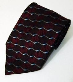 LN Men's Robert Talbott Best in Class Burgundy Blue Black Striped Silk Necktie