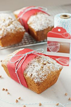 Recipe for eggnog mini loaves. Moist loaves filled with just enough eggnog flavor and studded with cinnamon chips. Perfect for gift giving.