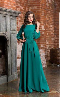 Long turquoise woman dress, floor Autumn Winter Spring