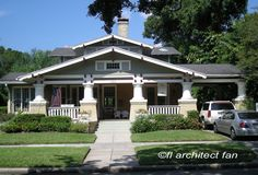 Bungalow porch design with substantial columns with interesting details and integrated carport. Front-Porch-Ideas-and-More.com #porch