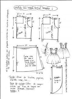 "Vestido manga copinho decote ""V"" nas costas - DIY- marlene mukai - molde infanti. Sewing Kids Clothes, Sewing For Kids, Baby Sewing, Doll Clothes, Kids Dress Patterns, Baby Patterns, Clothing Patterns, Toddler Dress, Dressmaking"