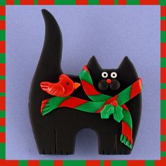 Black Kitty Cat, Scarf & Cardinal | Flickr - Photo Sharing!