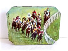 Vintage Huntley & Palmers Biscuits Tin, Derby Day 1961 - 1963, Horse Racing Tin