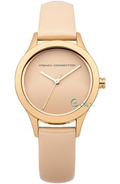 French Connection Women's 'Charlotte' Quartz Stainless Steel and Leather Casual Watch, Color:Beige (Model: French Connection, Feminine Mode, Shops, Rose Jewelry, Jewellery, Casual Watches, Beige, Ladies Boutique, Accessories