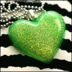 Toxic - Resin GREEN Heart Necklace by stoopidgerl on Etsy