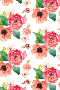 Floral Dreams White by shopcabin - Hand painted pink and peach flowers on fabric, wallpaper, and gift wrap. Beautiful hand painted watercolor flowers with a painterly feel. Flowing flowers and green leaves.