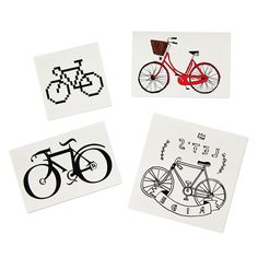 BIKES TEMPORARY TATTOOS - SET OF 4 | bicycle tattoo, cycling, mountain bike | UncommonGoods
