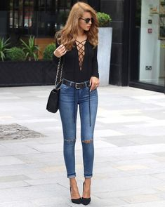 lace up blouse with skinny jeans