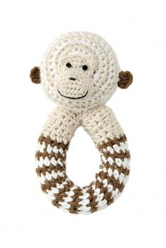 crochet monkey with rattle  by bellybutton