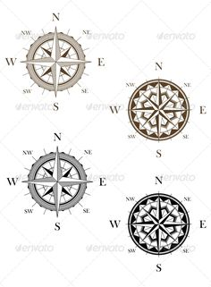 Set of Vintage Compass Signs #GraphicRiver