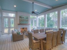 Screened in porch with fireplace Screened Porch Doors, Screened In Deck, Front Porch, Backyard Fireplace, Porch Fireplace, Decks And Porches, Back Porches, 4 Season Room, Four Seasons Room