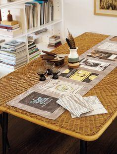 Moveable Feast Table Runner & Napkins from Novel Living by Lisa Occhipinti http://www.abramsbooks.com/Books/Novel_Living-9781617690877.html