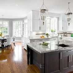 Alaska White Granite, Transitional, kitchen, Benjamin Moore Coventry Gray, Jane Lockhart Interior Design