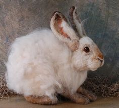 Snowshoe Hare Life Sized by SarafinaFiberArt on Etsy